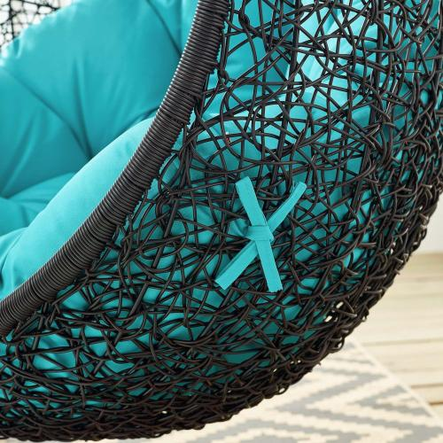 Encase Swing Outdoor Patio Lounge Chair in Turquoise