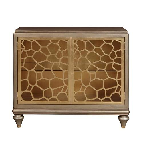Two Door Accent Chest with Pierced Gold Leaf Doors