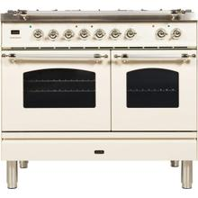 View Product - Nostalgie 40 Inch Dual Fuel Natural Gas Freestanding Range in Antique White with Chrome Trim