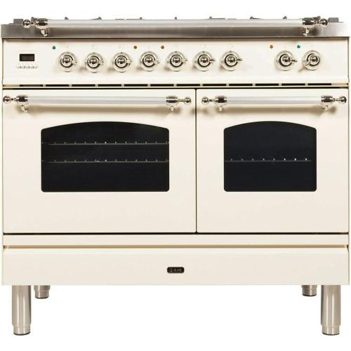 Nostalgie 40 Inch Dual Fuel Natural Gas Freestanding Range in Antique White with Chrome Trim