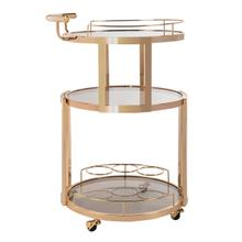 See Details - Rio 3 Tier Round Bar Cart and Wine Rack - Gold / Tinted Glass