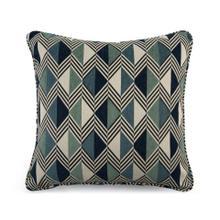 Toss Pillow with a Blue Diamond Pattern