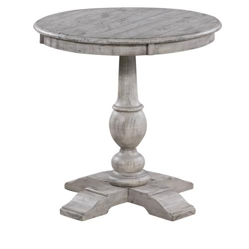 Crestview Collections - Pembroke Plantation Recycled Pine White Wash Round Accent Table