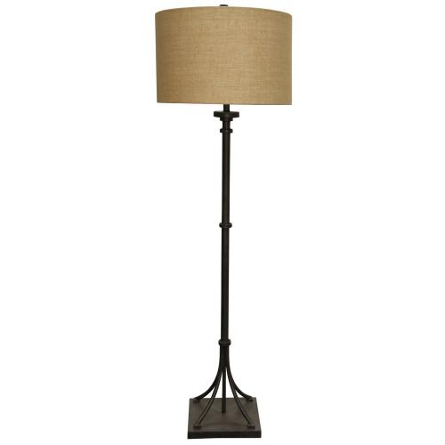 Industrial Bronze  Transitional Iron Base Floor Lamp