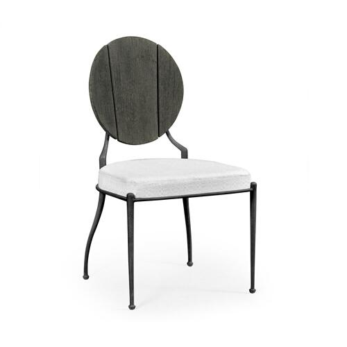 Outdoor Grey Weather Dining Side Chair, Upholstered in COM