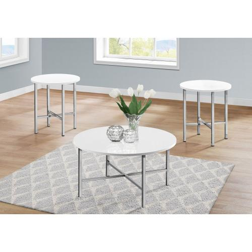 Gallery - TABLE SET - 3PCS SET / GLOSSY WHITE / CHROME METAL