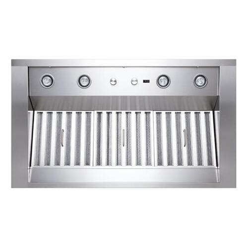 """WP28 - 42"""" Stainless Steel Pro-Style Range Hood with 300 to 1650 Max CFM internal/external blower options"""