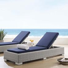 Conway Sunbrella® Outdoor Patio Wicker Rattan Chaise Lounge in Light Gray Navy