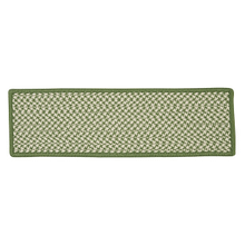 "Outdoor Houndstooth Tweed Stair Tread OT68 Leaf Green 8"" X 28"" (Set 13)"