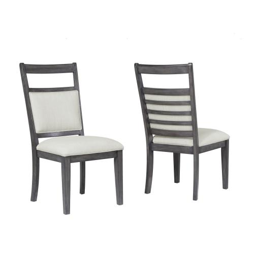 DLU-EL-C90-2  Upholstered Slat Back Dining Chair  Gray