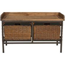 Noah 2 Drawer Wooden Storage Bench - Antique Pewter / Oak