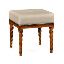 Walnut Barleytwist Stool, Upholstered in MAZO