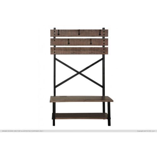International Furniture Direct - Hall tree - Bench w / hooks