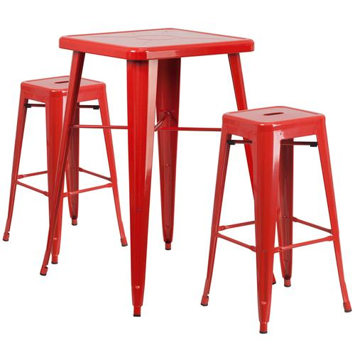 """Commercial Grade 23.75"""" Square Red Metal Indoor-Outdoor Bar Table Set with 2 Square Seat Backless Stools"""