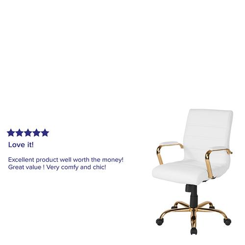 Gallery - Mid-Back White LeatherSoft Executive Swivel Office Chair with Gold Frame and Arms