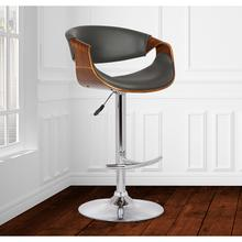 View Product - Armen Living Butterfly Adjustable Swivel Barstool in Gray Pu with Chrome Finish and Walnut Wood