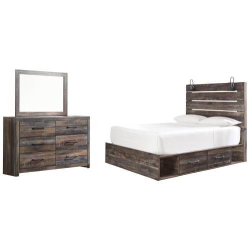 Product Image - Queen Panel Bed With 2 Storage Drawers With Mirrored Dresser