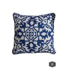 See Details - CAROLINE PILLOW- NAVY  Hand Embroidered Wool on Cotton  Down Feather Insert