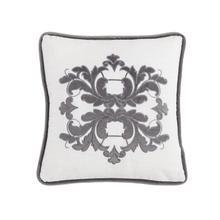 Madison White Linen Pillow W/ Velvet Embroidery, 2 Colors, 18x18 - Gray