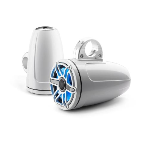 JL Audio - 7.7-inch (196 mm) Enclosed Tower Coaxial System with Transflective™ LED Lighting, Gloss White Enclosure, Gloss White Trim Ring, Gloss White Sport Grille