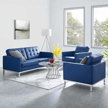Loft 3 Piece Tufted Upholstered Faux Leather Set in Silver Navy