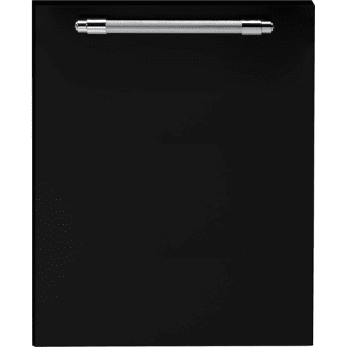 Dishwasher panel with handle Black matte, Chrome