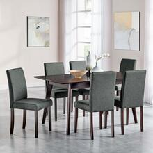 Prosper 7 Piece Upholstered Fabric Dining Set in Cappuccino Gray