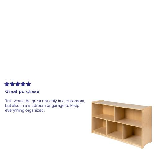 """Flash Furniture - Wooden 5 Section School Classroom Storage Cabinet for Commercial or Home Use - Safe, Kid Friendly Design - 30""""H x 48""""L (Natural)"""