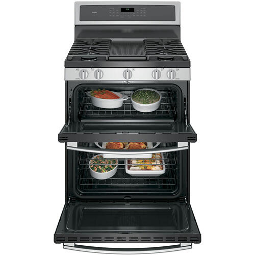 "GE Profile 30"" Gas Freestanding Double Oven Convection Range Stainless Steel - PCGB960SEMSS"