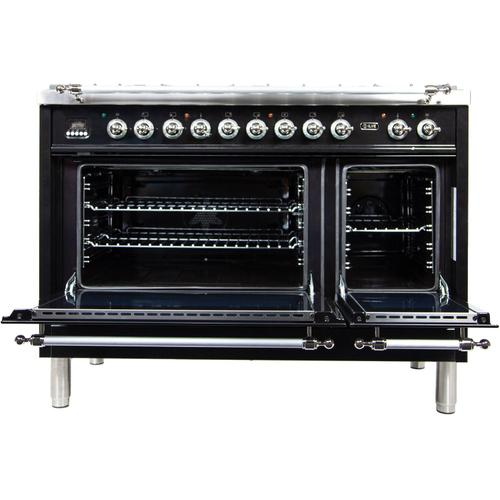 Ilve - Nostalgie 48 Inch Dual Fuel Natural Gas Freestanding Range in Glossy Black with Chrome Trim