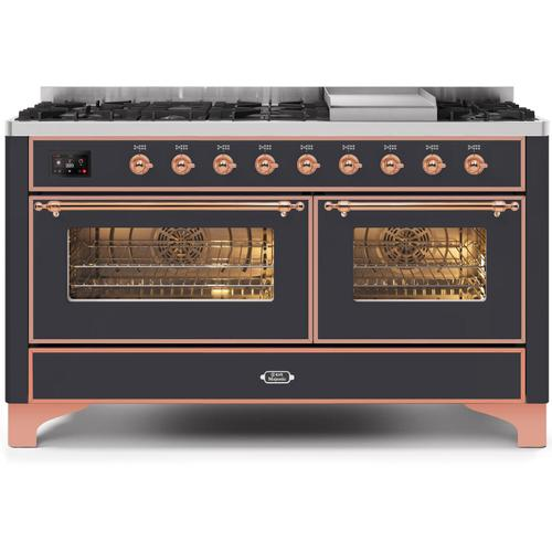 Majestic II 60 Inch Dual Fuel Natural Gas Freestanding Range in Matte Graphite with Copper Trim