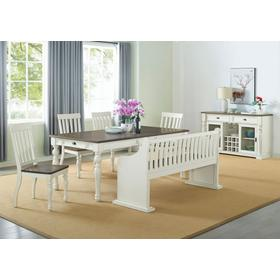 """Joanna Two Tone Dining Table 40""""x64""""x80""""x30"""" - 16""""Leaf"""