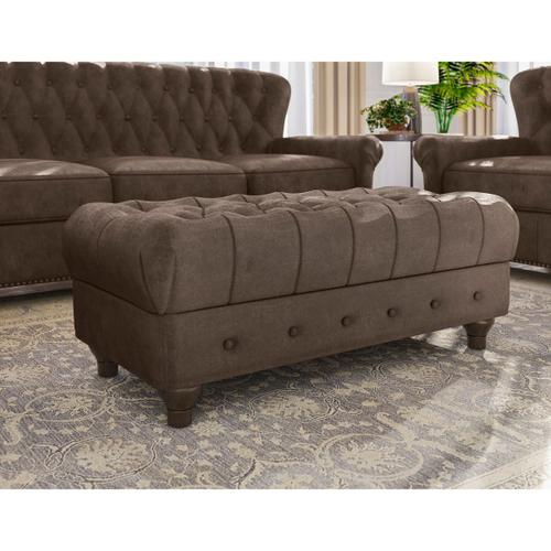 Charlie Leather Cocktail Ottoman in Heritage Brown