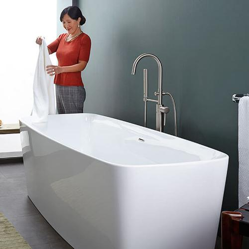 Equility Slim Freestanding Soaking Tub - Canvas White