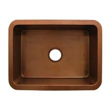 """Copperhaus rectangular undermount sink with a smooth texture and a 3 1/2"""" center drain - 14 gauge copper sink"""