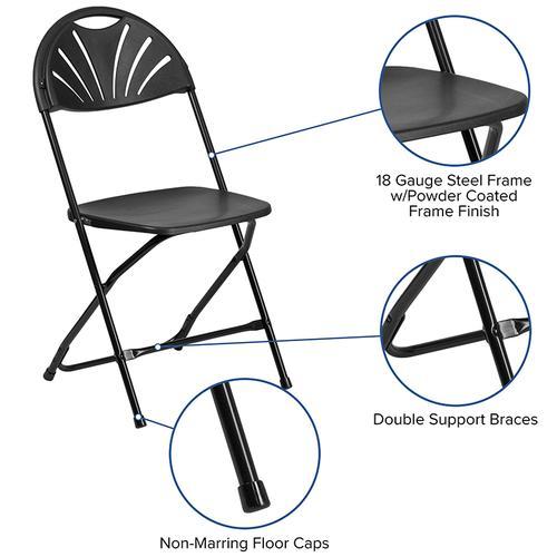 Flash Furniture - HERCULES Series 650 lb. Capacity Black Plastic Fan Back Folding Chair
