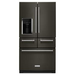 "KitchenAidBLACK STAINLESS25.8 Cu. Ft. 36"" Multi-Door Freestanding Refrigerator with Platinum Interior Design - Black Stainless Steel with PrintShield™ Finish"