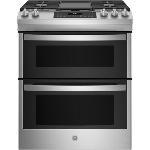 "GE® 30"" Slide-In Front Control Gas Double Oven Range"