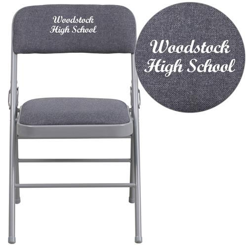 Embroidered HERCULES Series Triple Braced Gray Fabric Upholstered Metal Folding Chair
