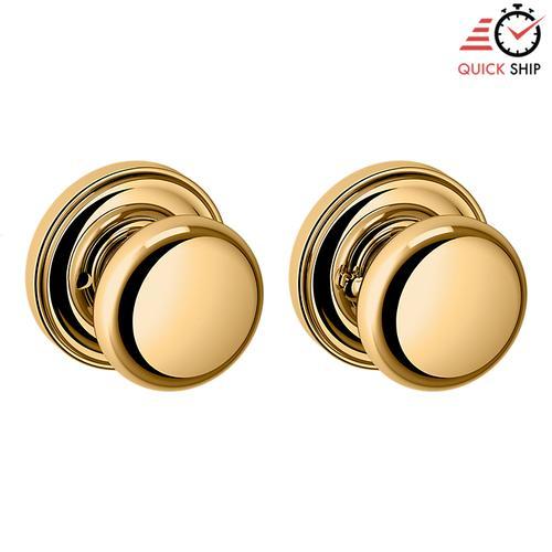 Baldwin - Non-Lacquered Brass 5015 Estate Knob with 5048 Rose