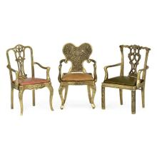 See Details - Set of Light Brass Miniature Dining Chairs