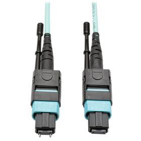 40G MTP/MPO Multimode OM3 Plenum-Rated Fiber Optic Cable (M/F), 12 Fiber, 40GBASE-SR4, Aqua, 10 m