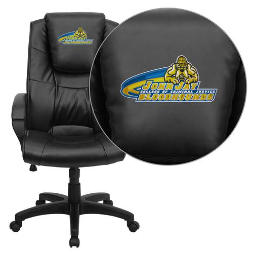 John Jay College of Criminal Justice Bloodhounds Embroidered Black Leather Executive Office Chair