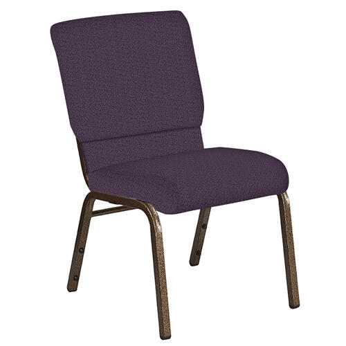 Flash Furniture - 18.5''W Church Chair in Old World Purple Fabric - Gold Vein Frame