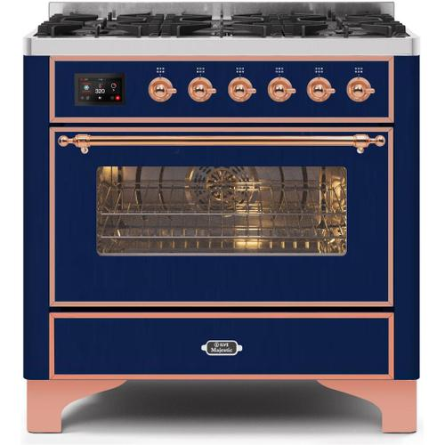 Product Image - Majestic II 36 Inch Dual Fuel Natural Gas Freestanding Range in Blue with Copper Trim