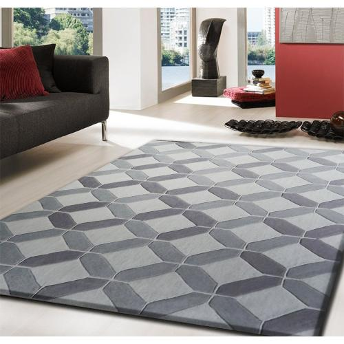 Durable Hand Tufted Transition TF60 Area Rug by Rug Factory Plus - 5' x 7' / Beige