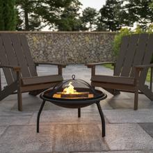 """See Details - 22.5"""" Foldable Wood Burning Firepit with Mesh Spark Screen and Poker"""