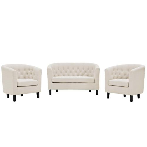 Modway - Prospect 3 Piece Upholstered Fabric Loveseat and Armchair Set in Beige