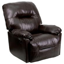 Contemporary Bentley Brown LeatherSoft Chaise Power Recliner with Push Button