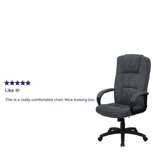 Gallery - High Back Gray Fabric Executive Swivel Office Chair with Arms